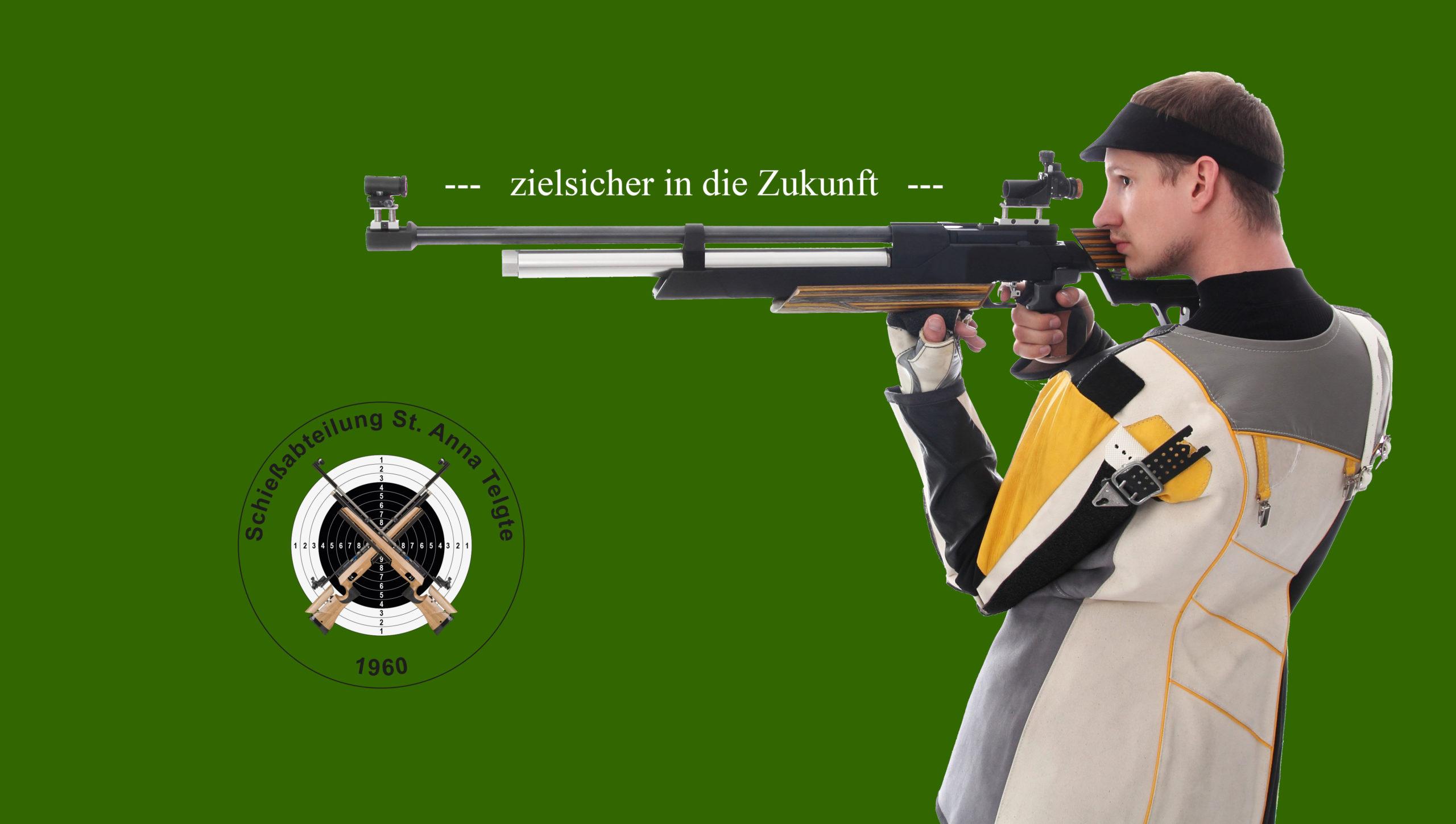 Sportschütze mit Luftgewehr im frei Stehend Anschlag